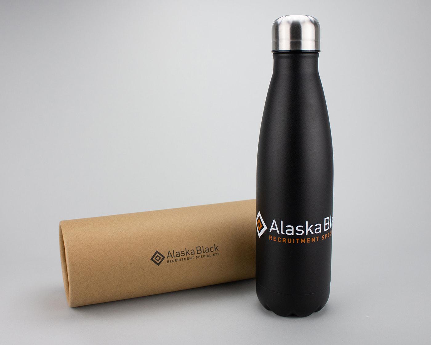 Alaska Black branded metal bottles
