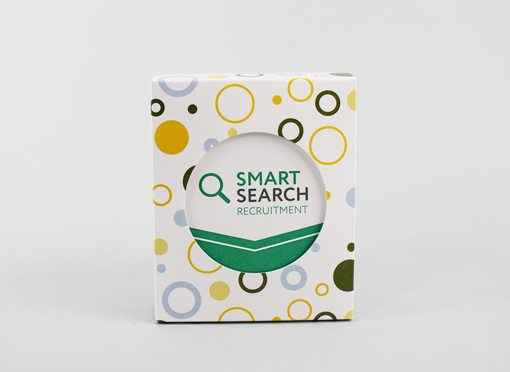 branded circle cut-out box